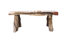 Isolated Wooden Bench