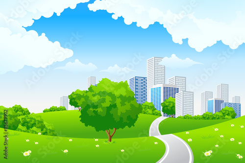 Poster Lime groen Green landscape with city