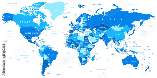 obraz lub plakat Highly detailed vector illustration of world map.Borders, countries and cities.
