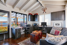 Classic Large Bright Home Office Interior With Modern And Antiqu