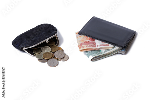 Fotografía  Purse with coins and wallet with cash