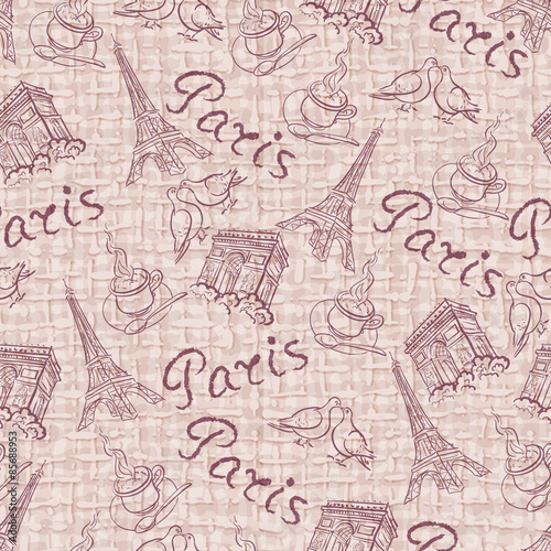 Printed kitchen splashbacks Newspapers Vector background with the sights of Paris vintage style