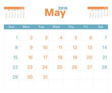 Month Calendar May 2016