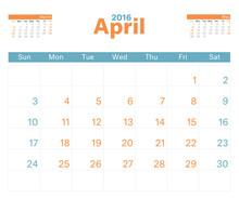 Month Calendar Apr 2016