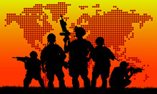 Silhouette Of Military Team With Weapons At Sunset. Shot, Holdin