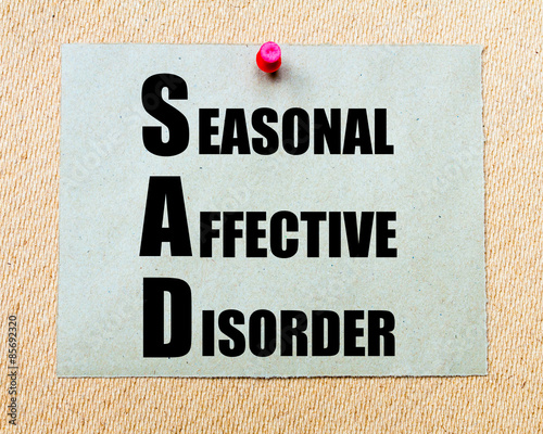 Fotografie, Obraz  SAD as Seasonal Affective Disorder written on paper note