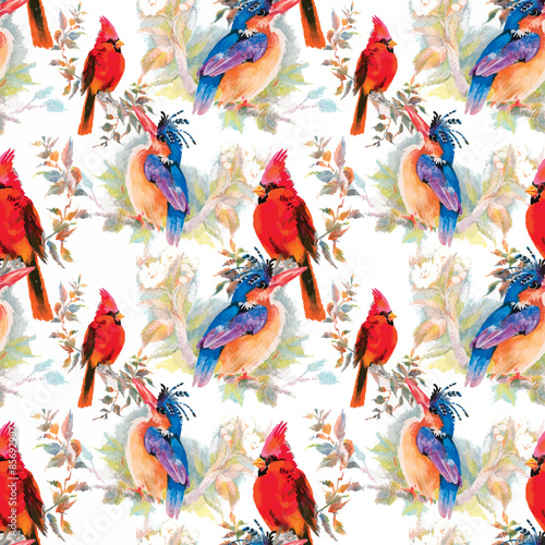 watercolor-hand-drawn-seamless-pattern-with-tropical-summer-flowers-and-birds