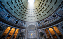 Inside Ancient Roman Pantheon, Rome, Italy. Famous Landmark Interior.