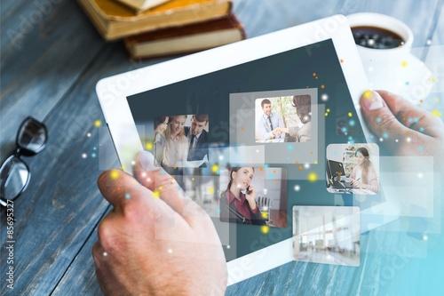 Fotografia  Connection, contacts, app.