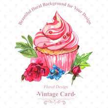 Vintage Invitation Card Watercolor Cupcakes And Flowers With