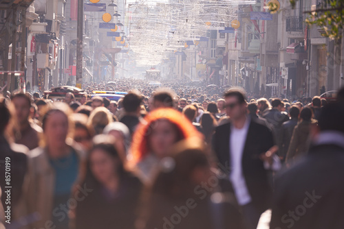 people crowd walking on street - 85701919
