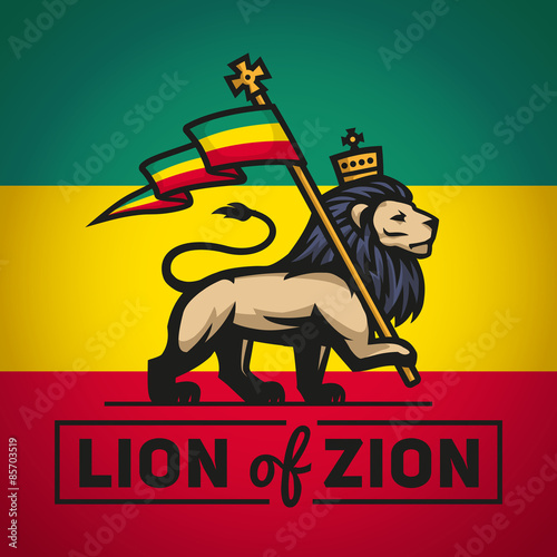 Valokuvatapetti Judah lion with a rastafari flag. King of Zion logo illustration