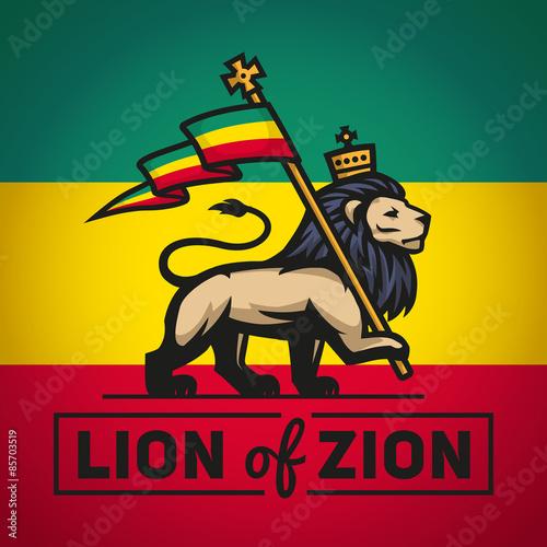 Fotografie, Obraz Judah lion with a rastafari flag. King of Zion logo illustration