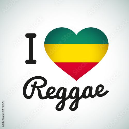 Fototapeta I love Reggae Heart illustration, Jamaican music logo design