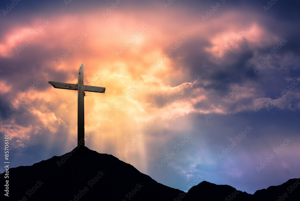 Fototapety, obrazy: Silhouette of Cross at Sunrise