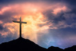 canvas print picture - Silhouette of Cross at Sunrise