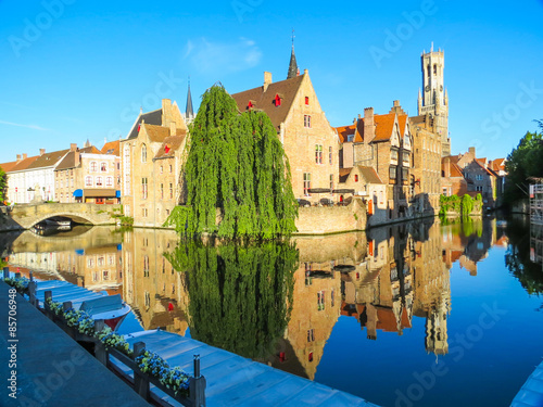 Wall Murals Bridges Houses along the canals of Brugge, Belgium