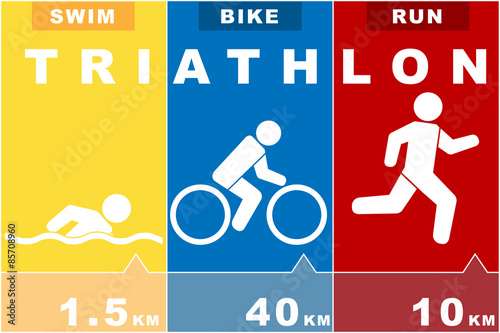 run swim bike icons symbolizing triathlon  Vector illustration Wallpaper Mural