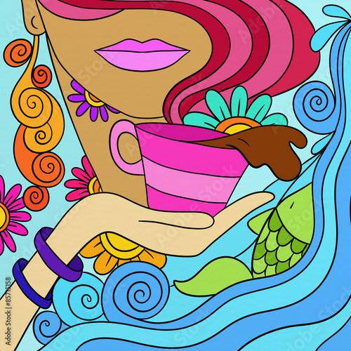 Foto op Canvas Klassieke abstractie tazzina di caffè