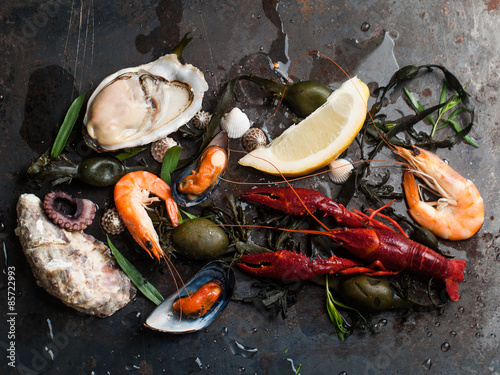 Photo  Delicious fresh seafood
