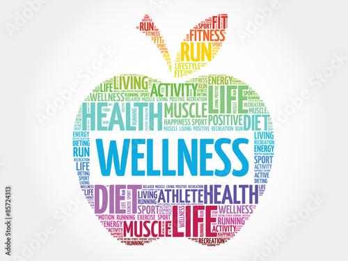 Fotografie, Tablou Wellness apple word cloud concept