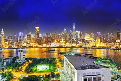 Beautiful view of  Shanghai -  Bund or Waitan waterfront at nigh Poster