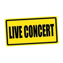 Live Concert Black Stamp Text On Yellow