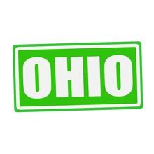 OHIO White Stamp Text On Green