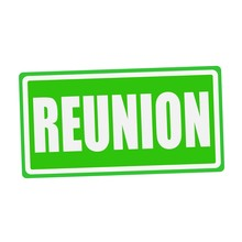 REUNION White Stamp Text On Gr...