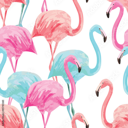flamingo watercolor pattern Canvas Print