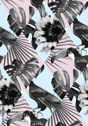 Cotton fabric tropical black and white patchwork pattern