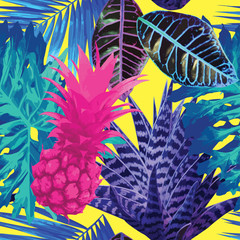 Fototapetapink pineapple and blue exotic plants seamless background