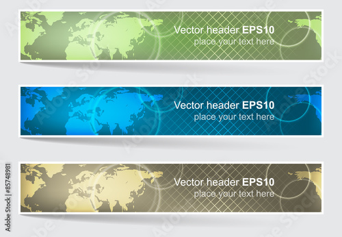 Fototapeta Set of vector header or banner, world map background obraz