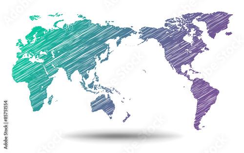 世界地図・手描き - world map - фототапет