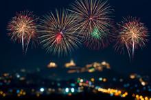Beautiful Colorful Fireworks Display On Celebration Night