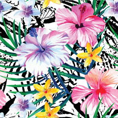 exotic tropical floral watercolor pattern