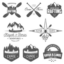 Set Of Kayak And Canoe Emblems...