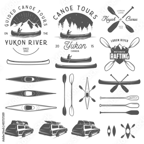 Set of kayak and canoe emblems, badges and design elements Wallpaper Mural