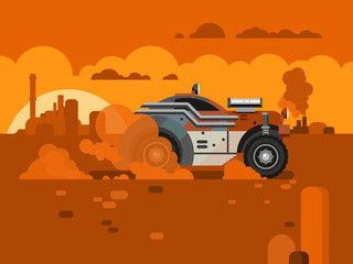 Obraz na Szkle Formuła 1 Driving Fast Retro Car Through Desert