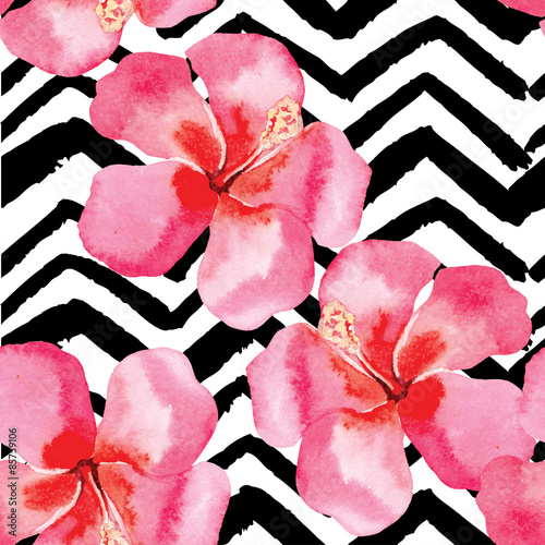 tropical hibiscus watercolor pattern, black and white background