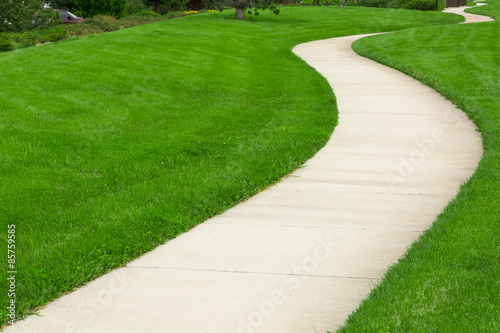 Pathway through green lawn Wallpaper Mural