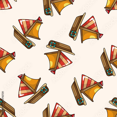 Transportation boat , cartoon seamless pattern background