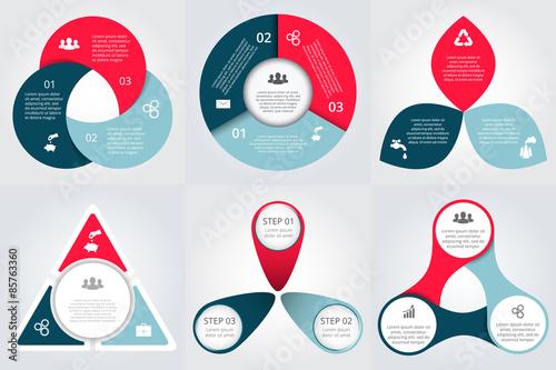 Fotografia  Vector circle elements set for infographic.