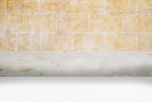 Architectual Background Made Of White Mosaic And Orange Irregular Facade