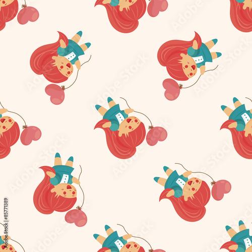 Photo sur Aluminium Hibou little kid with heart , cartoon seamless pattern background