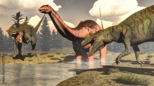Allosaurus hunting big brontosaurus dinosaur - 3D render