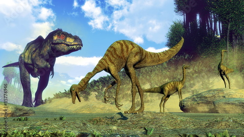 tyrannosaurus-rex-zaskakujace-dinozaury-gallimimus-3d-render