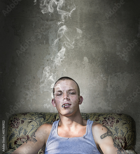 Photo  Handsome Young Punk in Grunge Room