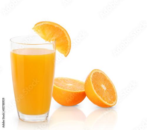 Foto op Canvas Sap Orange juice isolated on white