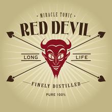 Vintage Retro Red Devil Seal